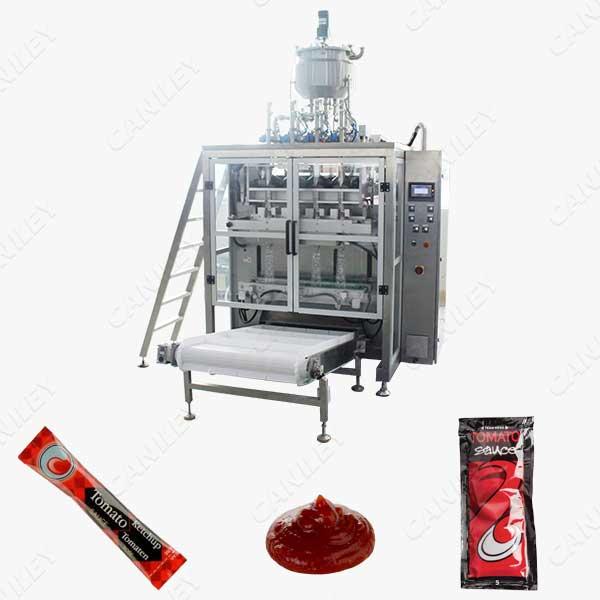 Multilane tomato sauce packing machine